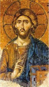 Deesis (Christ Pantocrator) Mosaic in Hagia Sophia, Istanbul, Turkey (13th century)