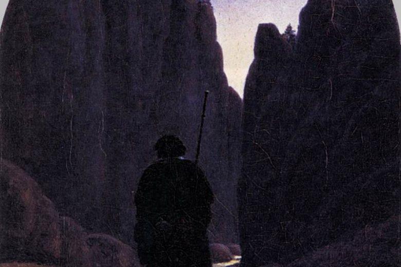 pilgrim wandering in a rocky underworld